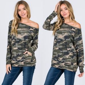 CHRISSY Camo Print Top - OLIVE
